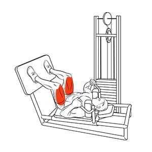 Приседания в тренажере в положении лежа