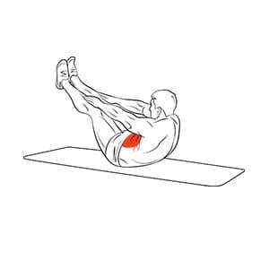 Подъемы ног к рукам из положения лежа