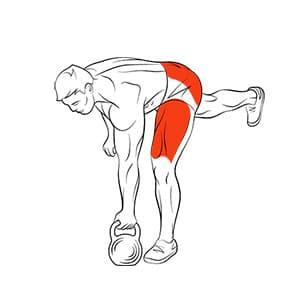 Становая тяга с гирей на одной ноге
