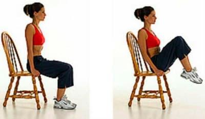 Поднимание ног из положения сидя